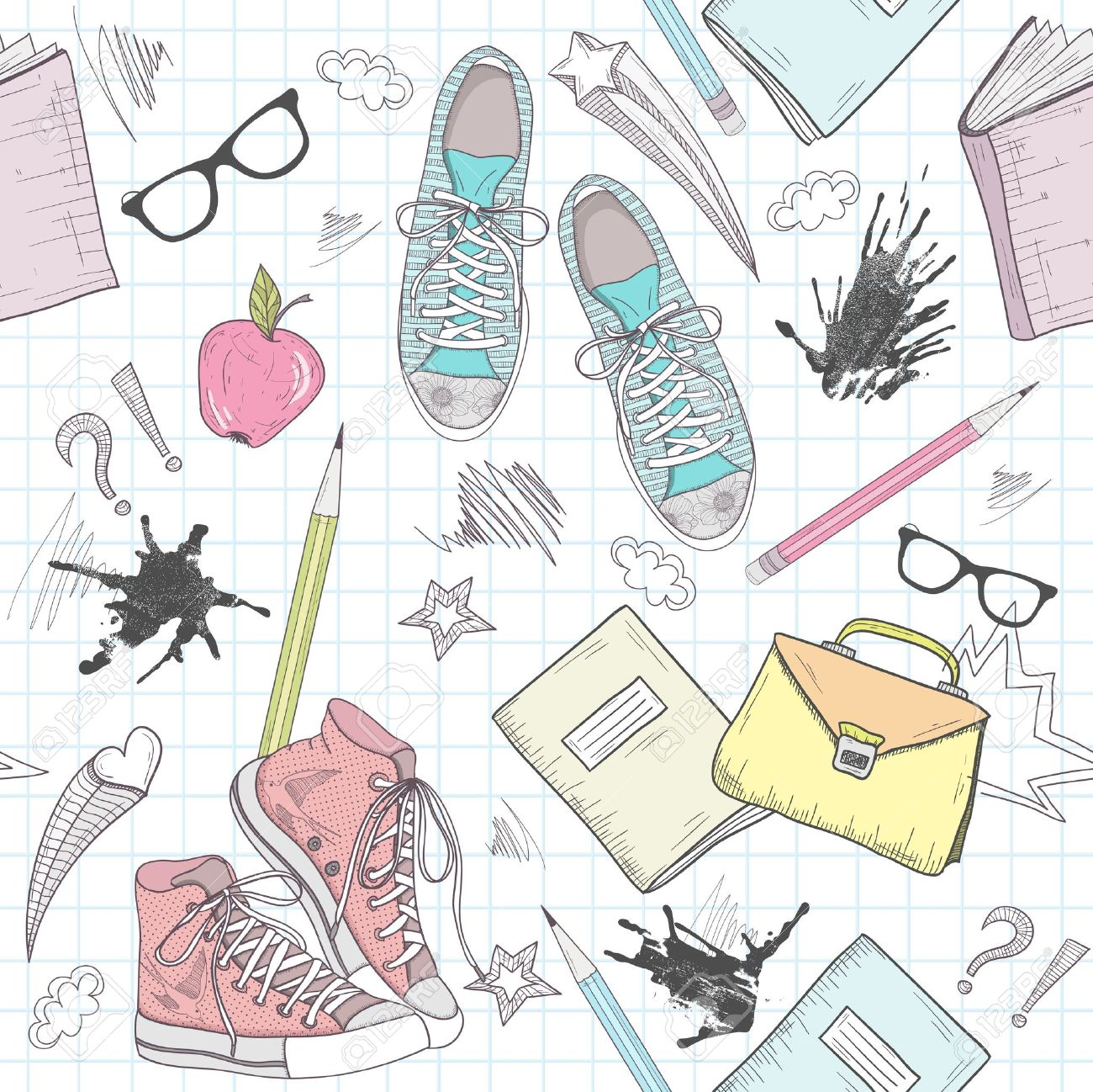 Cute school abstract pattern. Seamless pattern with shoes, bags, glasses, stars, books and ink stains. Fun pattern for teenagers or children. Stock Vector - 15352891