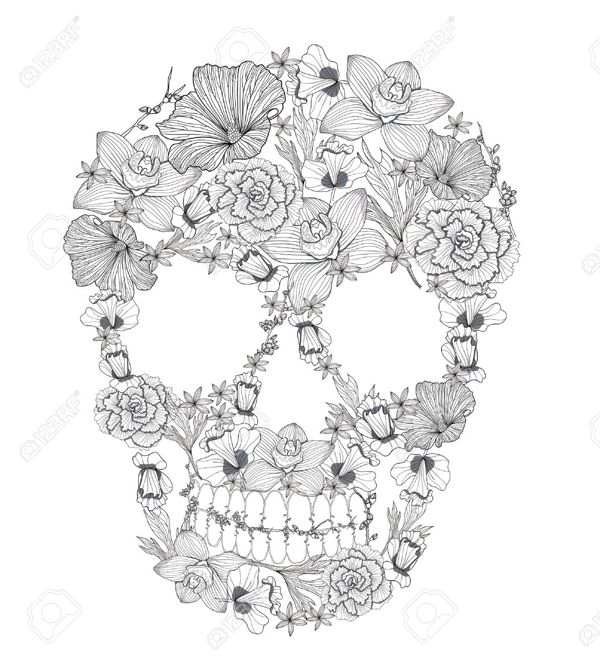 Craft a dark and lovely look with this lace-patterned skull stitched ...