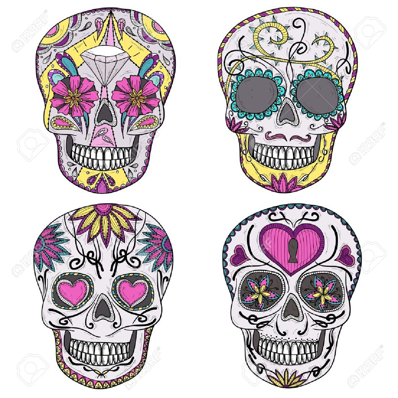 Mexican skull set  Colorful skulls with flower and heart ornamens  Sugar skulls Stock Vector - 15885939