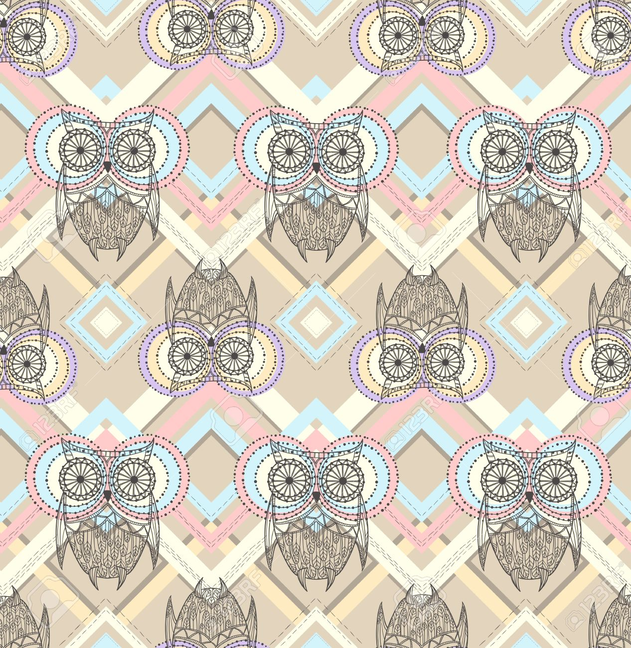 Cute Aztec Patterns Cute Owl Seamless Pattern With