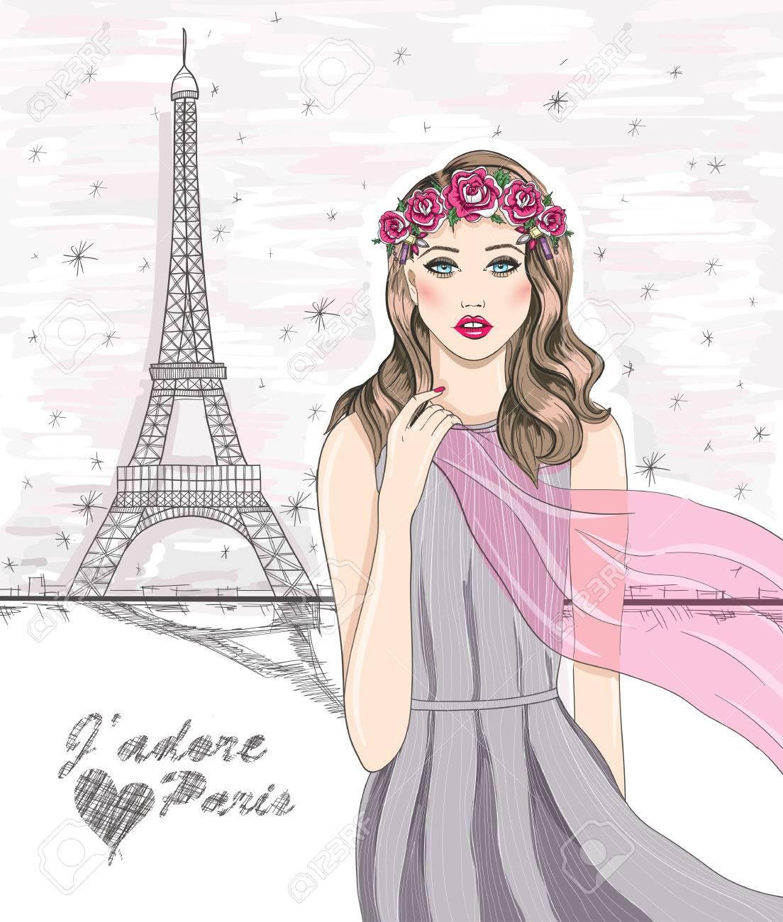Girl near eiffel tower. Hand drawn Paris postcard. - 25123521