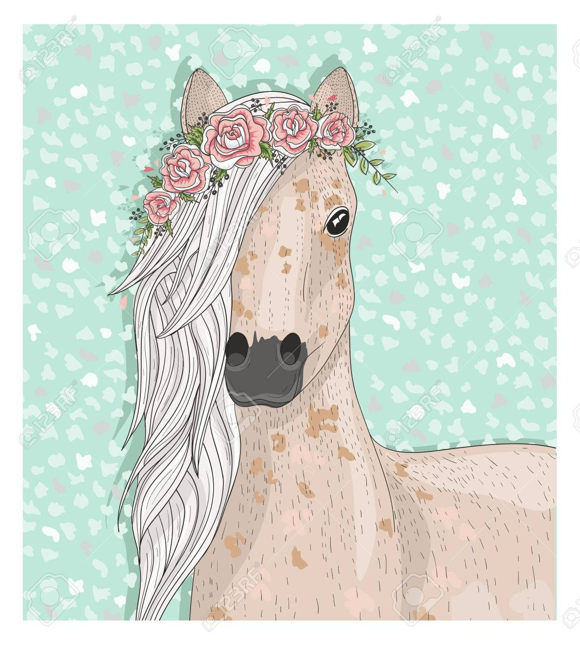 Cute Horse With Flowers Fairytale Background For Kids Or Children Royalty Free Cliparts Vectors And Stock Illustration Image 52754472