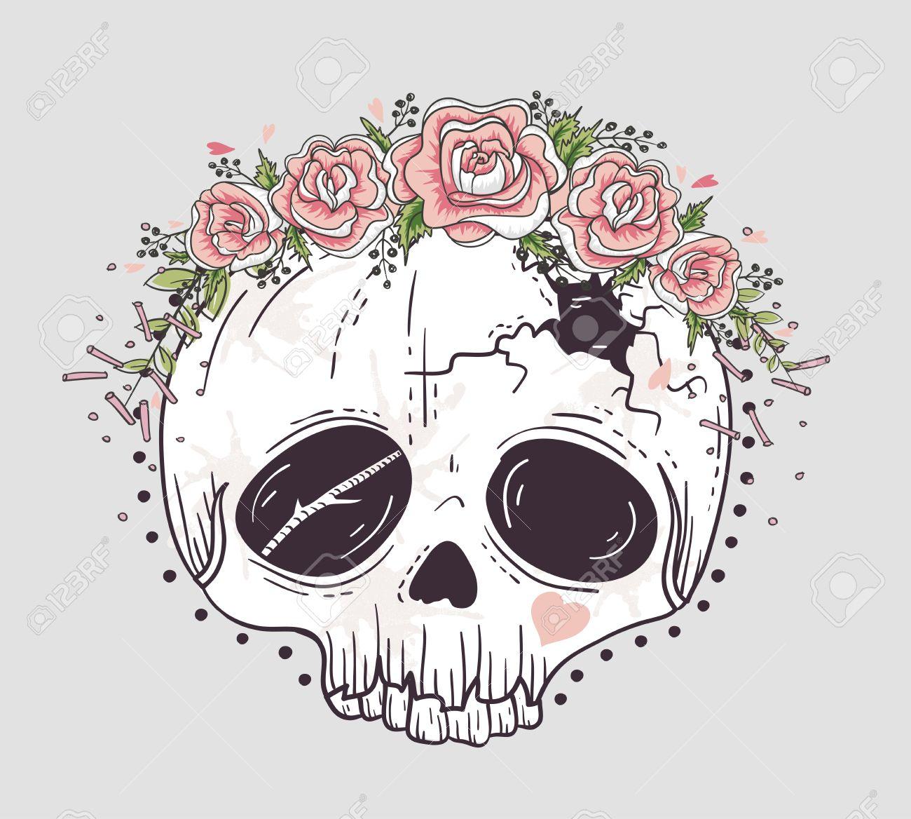 Cute Tattoo Style Skull Skull With Flower Crown Sugar Skull