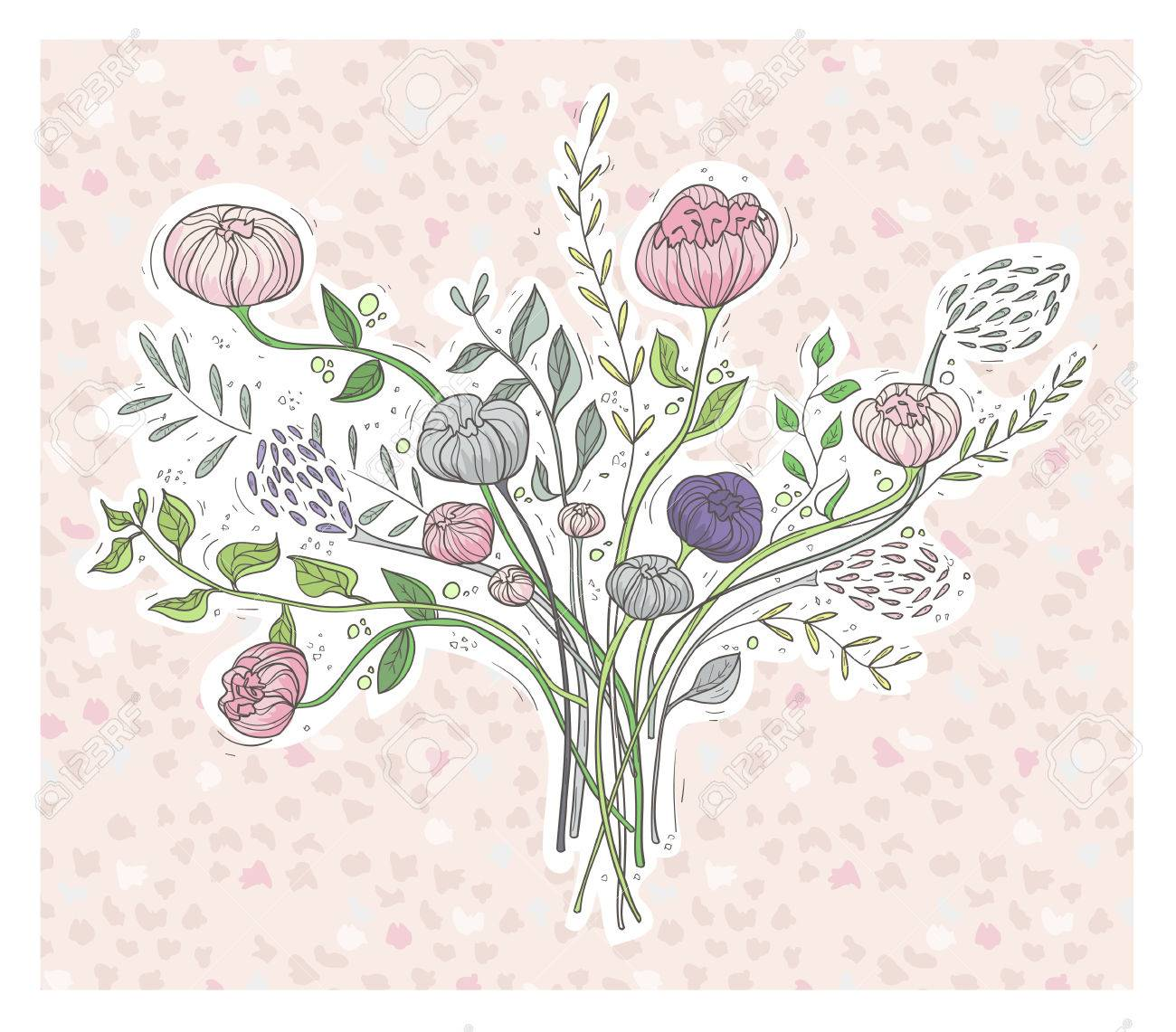 Cute floral background  Printable wall art with flowers  Vector