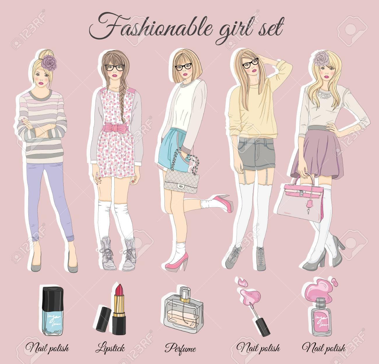 若者のファッションの女の子のイラスト。ベクトルの図。ファッションの流行の服で十代の女性との背景。ファッション イラスト。