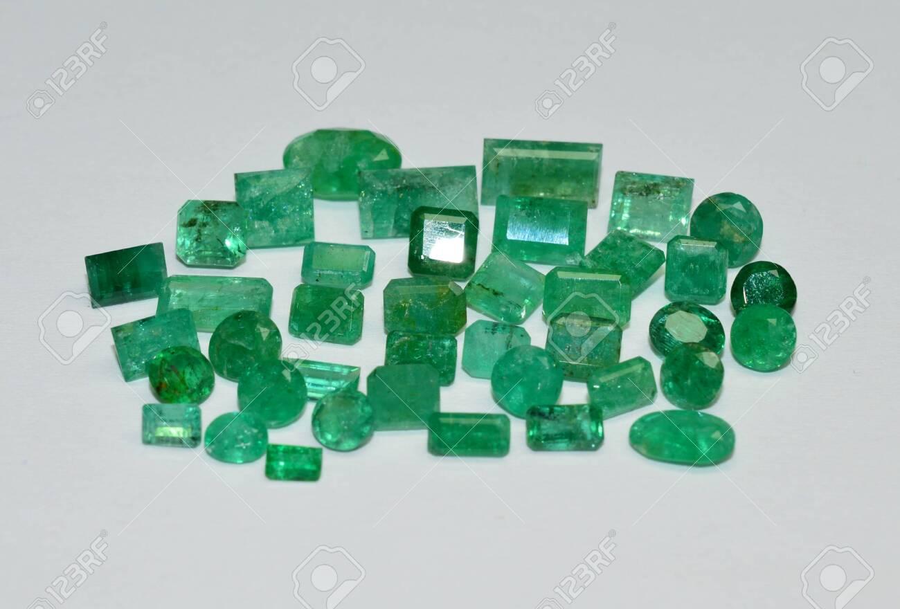 Emerald gemstones faceted - 134419601