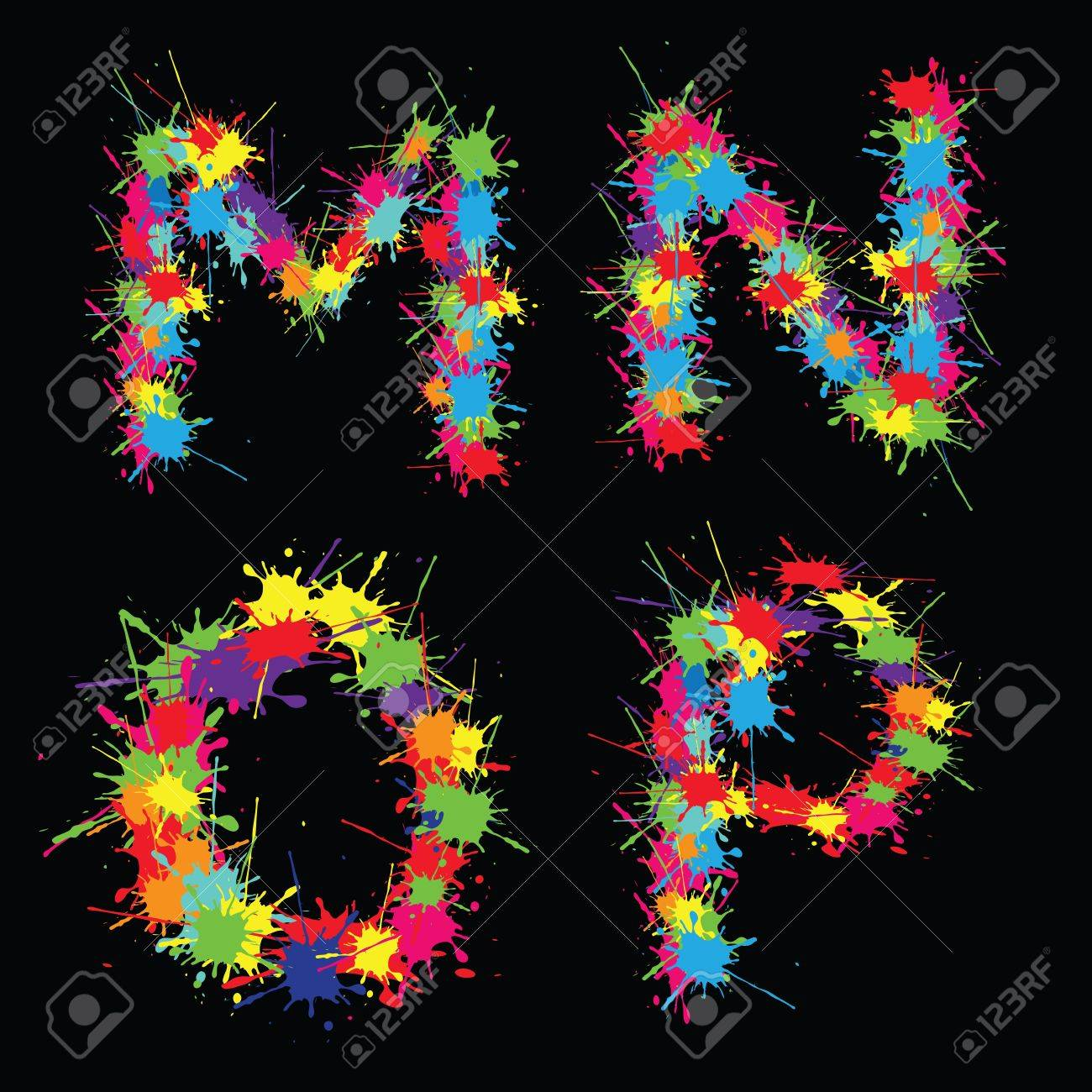 Colorful alphabet with blots MNOP Stock Vector - 13636560