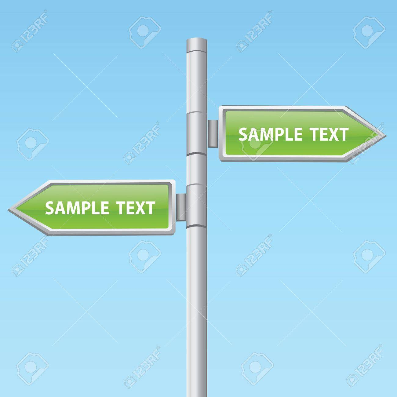 two green road arrow signs Stock Vector - 14295794