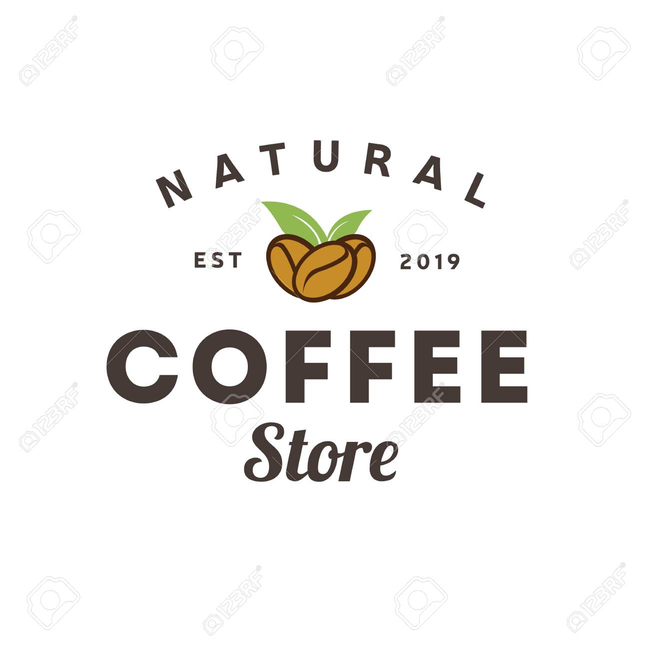 Coffee Natural Store logo vintage  Coffee shop template  Restaurant