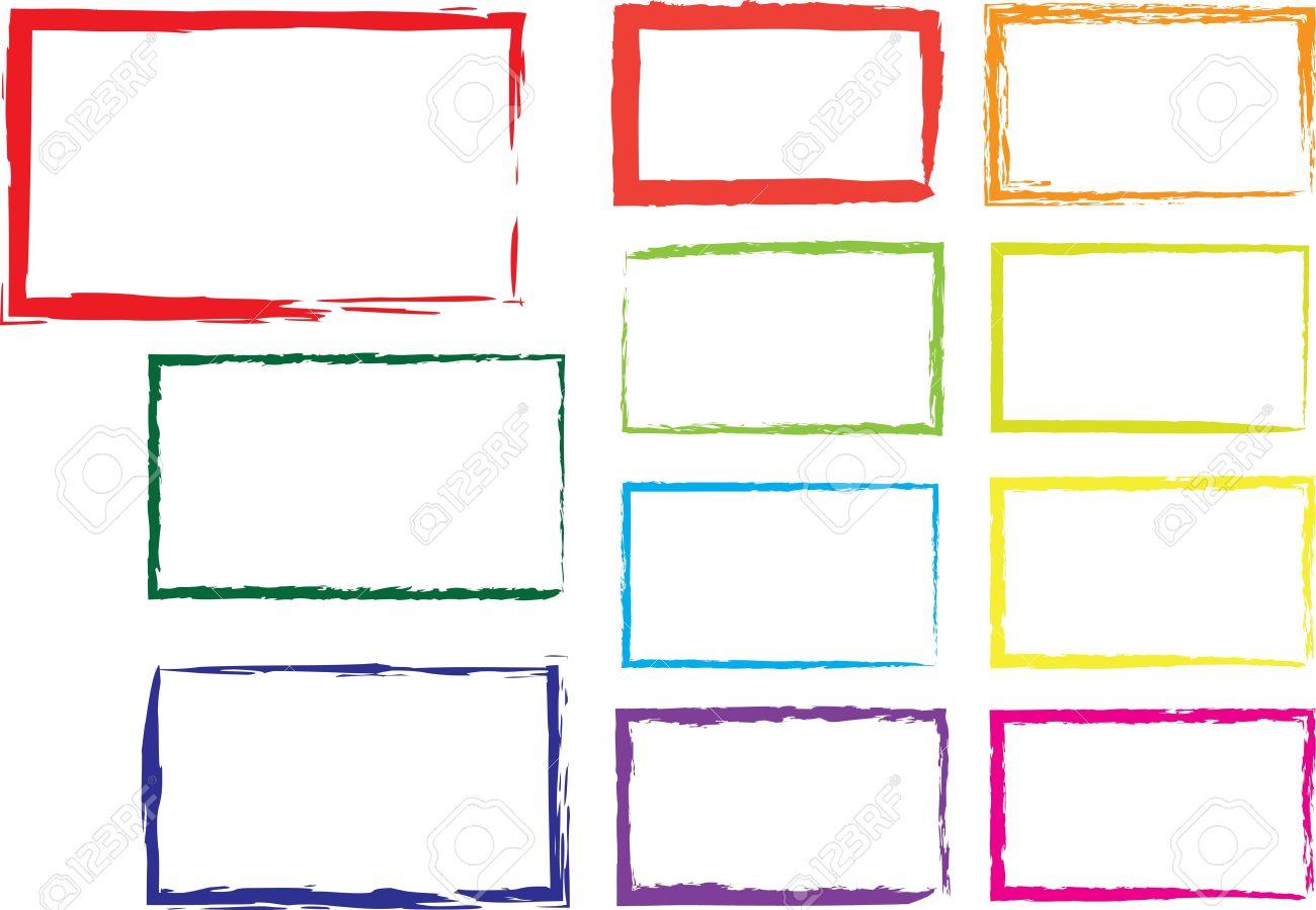 Vector Set Of Grunge Square Brush Strokes For Frames Icons