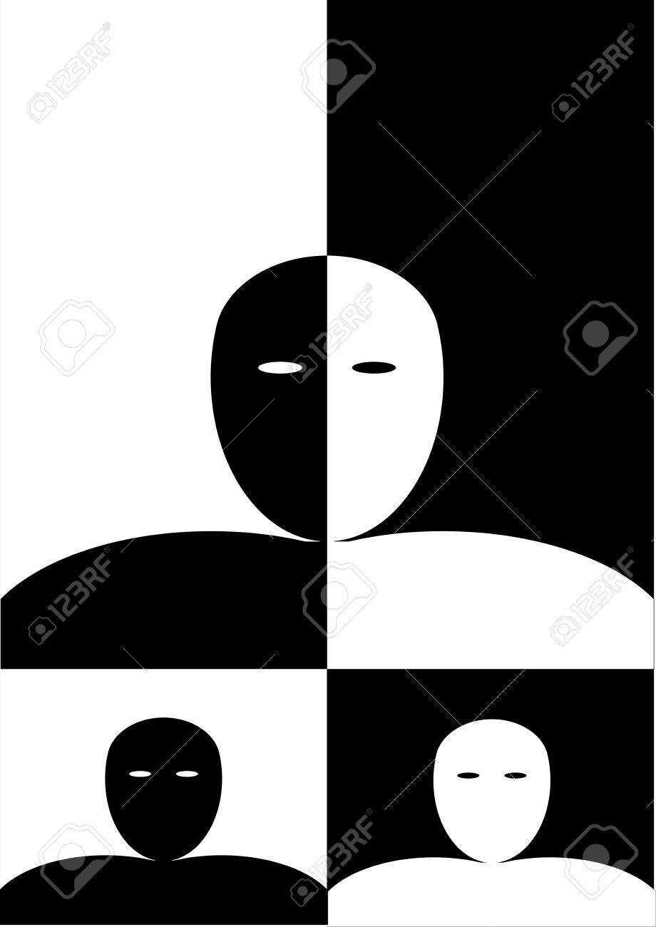 Black and white and white black man Stock Vector - 23020402