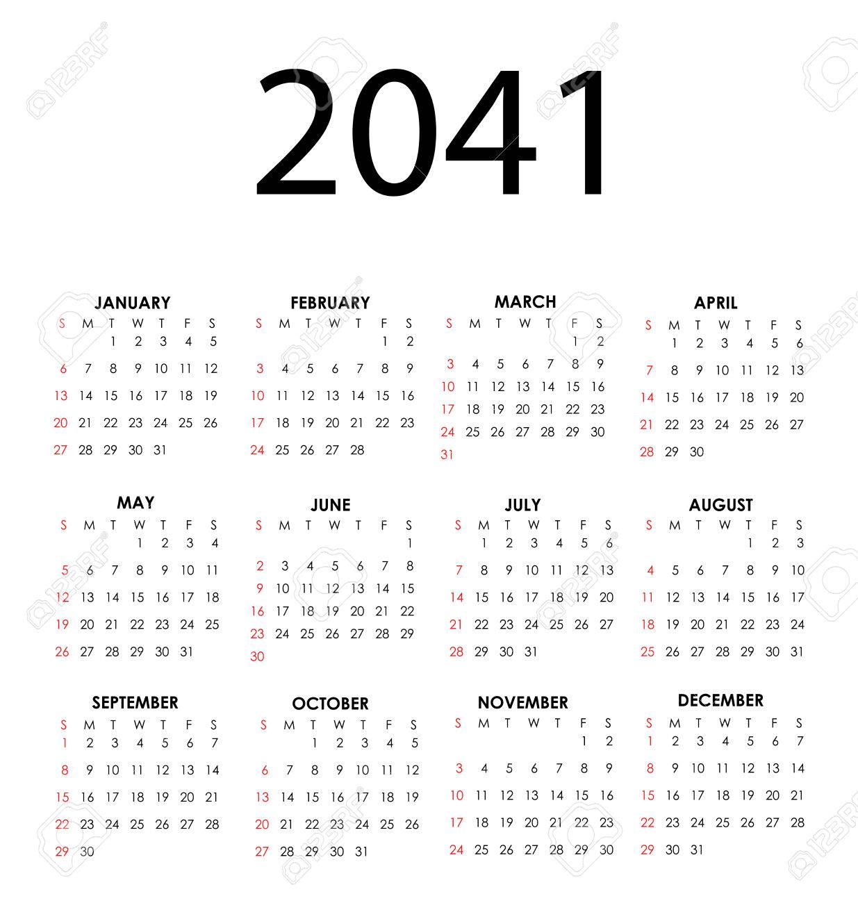 Simple vector calendar for 2041 with all the months Stock Vector - 24567025