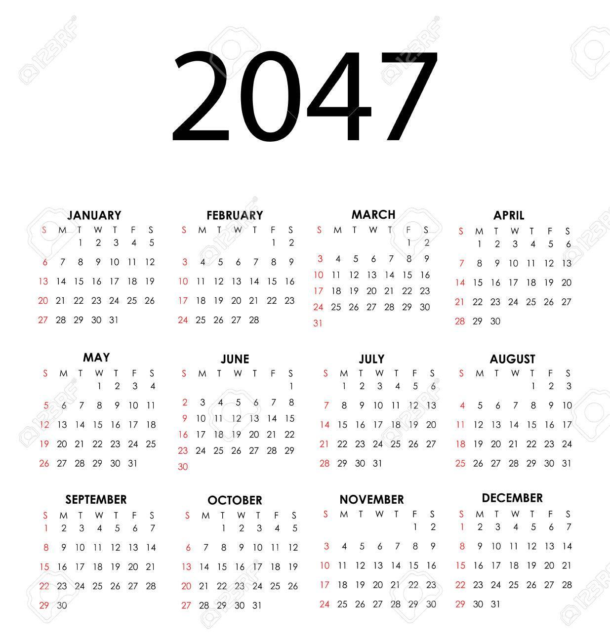 Simple vector calendar for 2047 with all the months Stock Vector - 24567027
