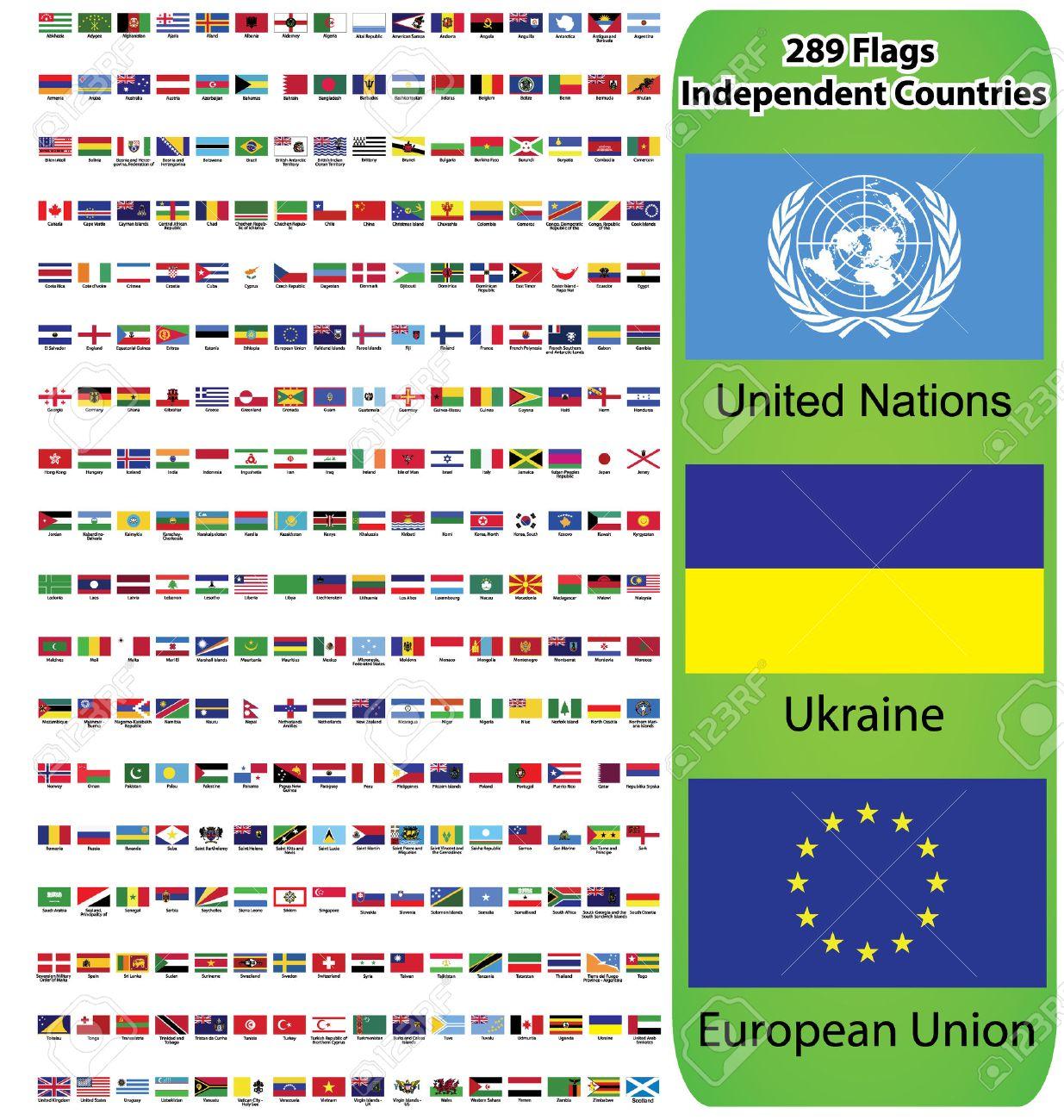 Onwijs Vlaggen Van Alle Landen In De Wereld En Continenten Europa, Azië BU-49