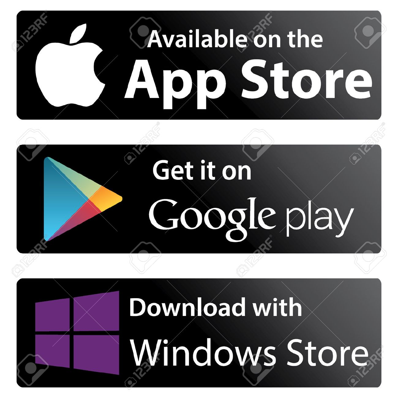 Set icons Google play store, Apple appstore, Windows store
