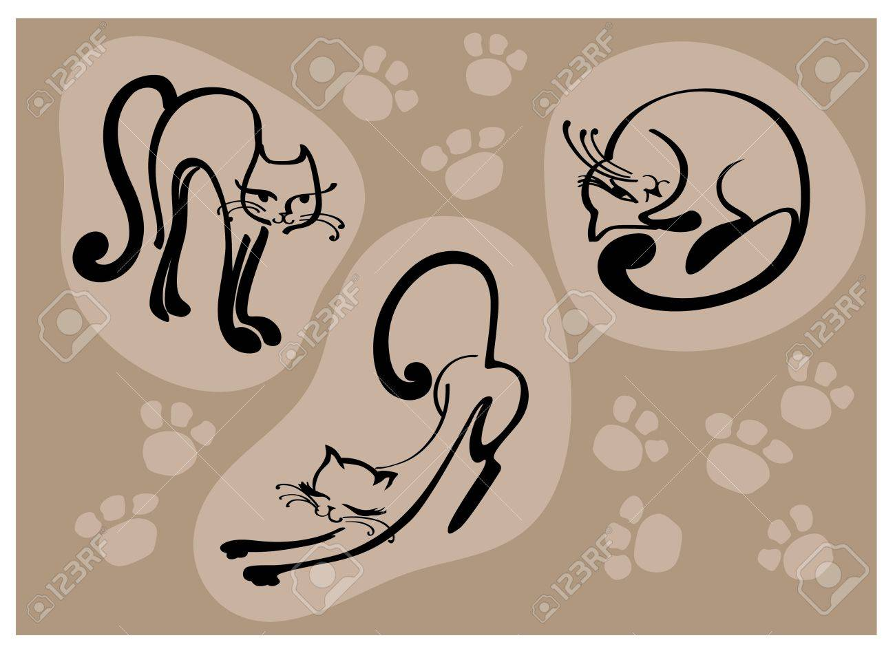 elegant beautiful cats, stylized cat, vector illustration Stock Vector - 12498402