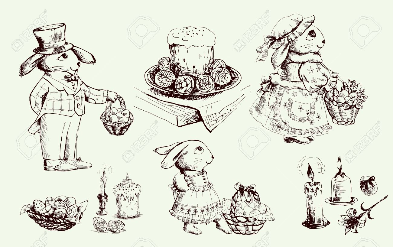 Sketch Easter bunny and various attributes of Passover Stock Vector - 12819756