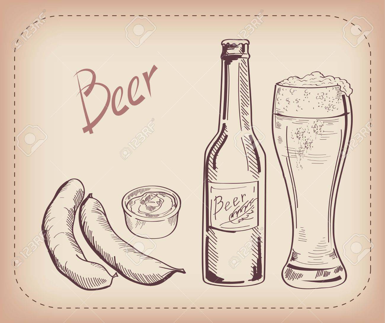 vector sketch of a pint of beer, made by hand - 29575141