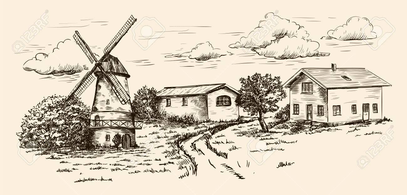 Windmill, Village Houses And Farmland. Vector Sketch Drawn By ... for Farmland Sketch  67qdu