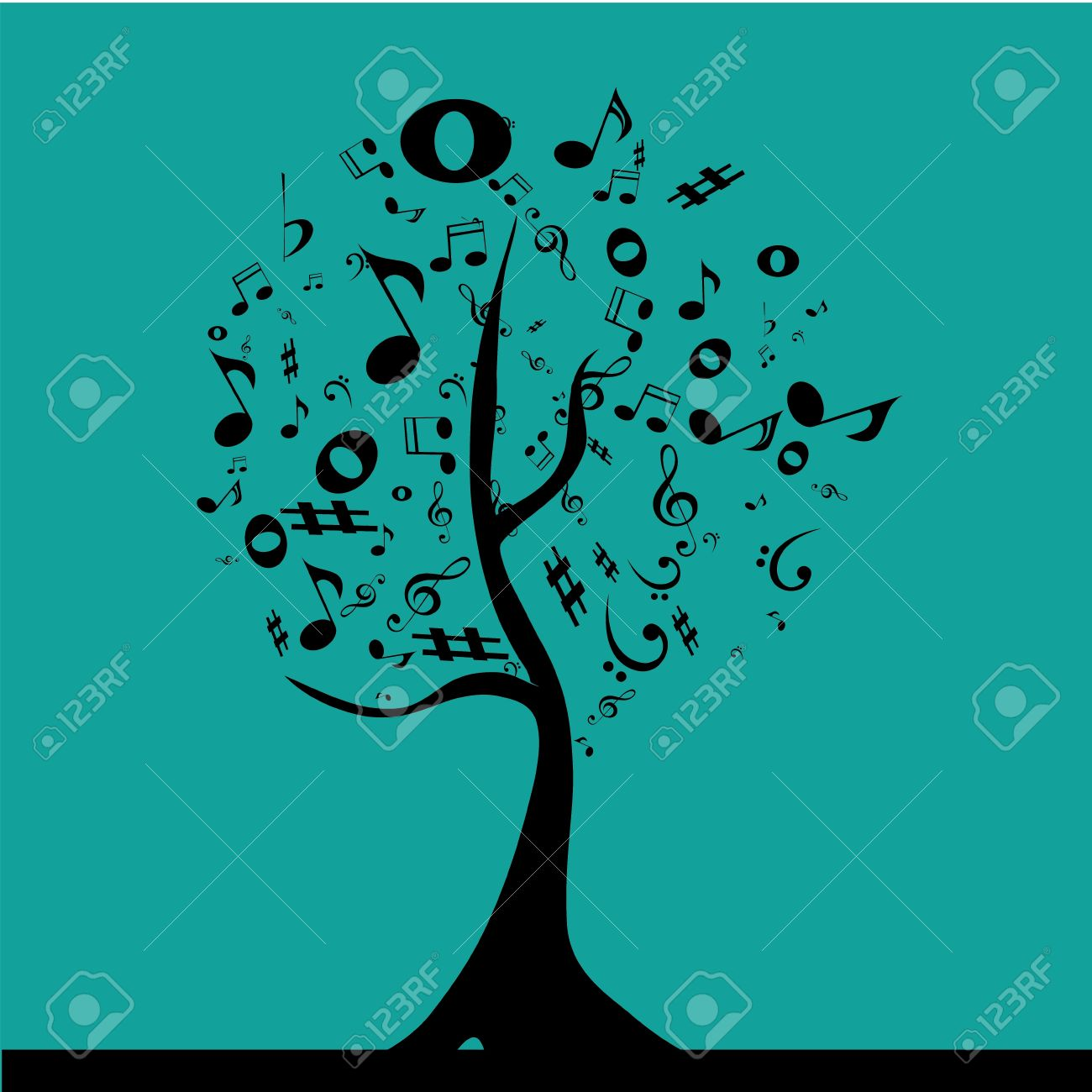 a black tree composed by black musical notation in a blue blackground - 21523545