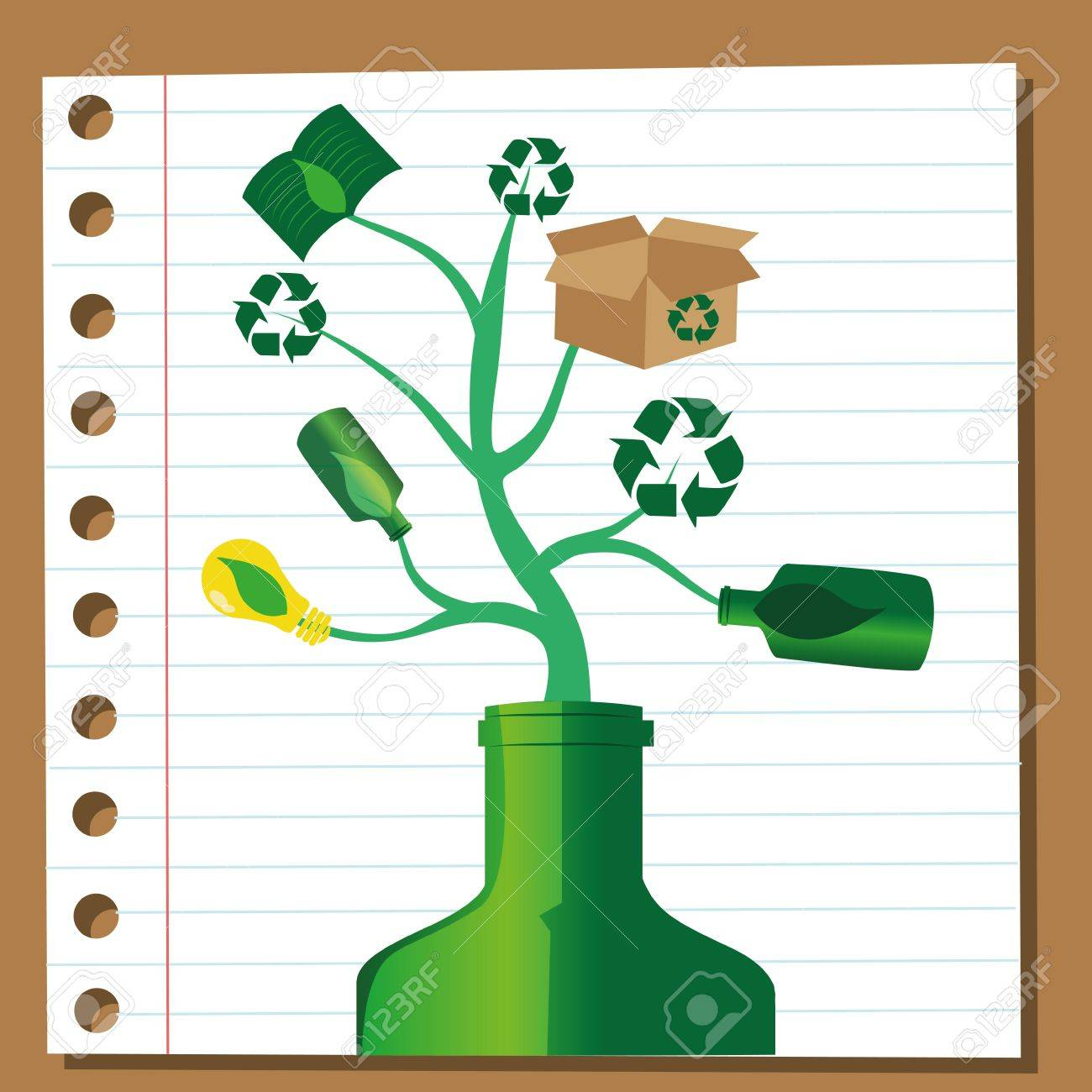 a concept tree composed only by recyclabe materials Stock Vector - 21566330