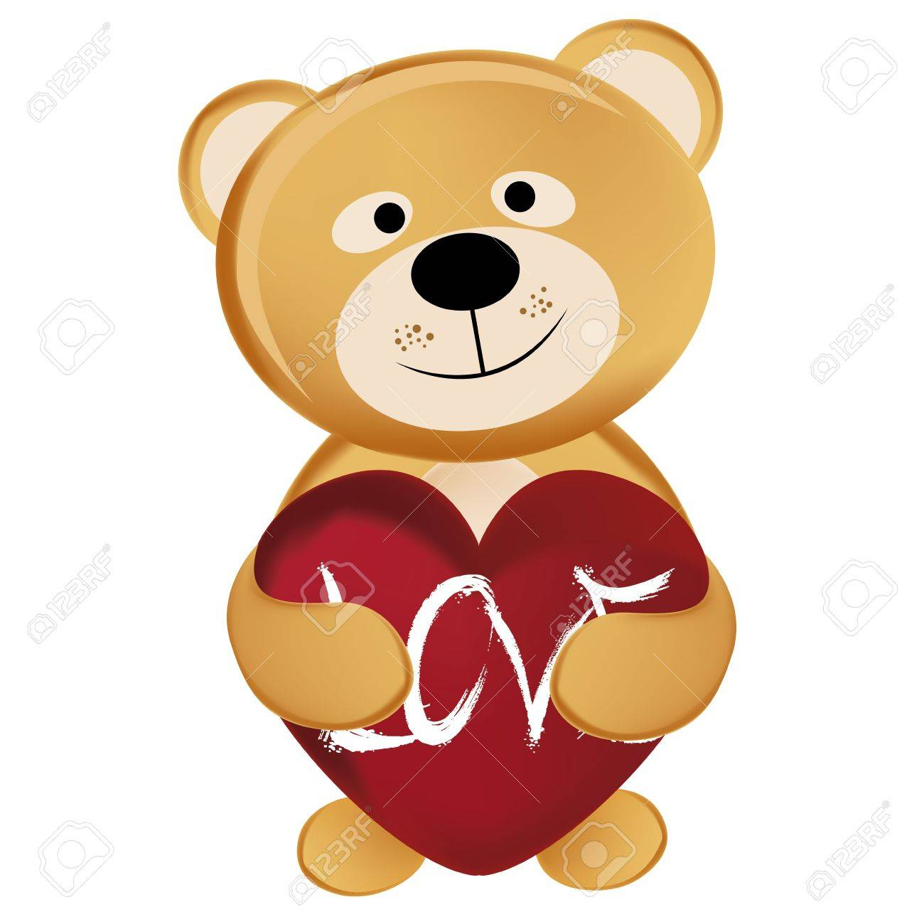 A Single Teddy Bear Hugging A Big Heart In Valentineu0027s Day Stock Vector    21567483