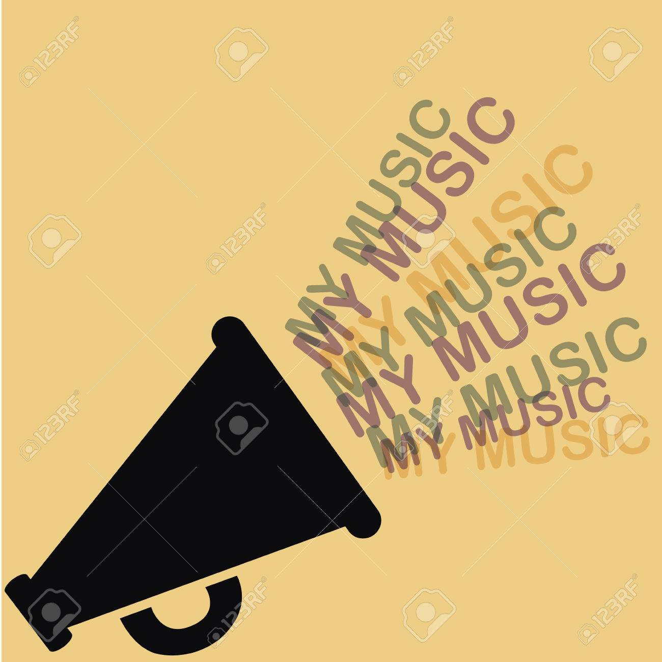 silhouette of a megaphone with music coming out from it - 22897755