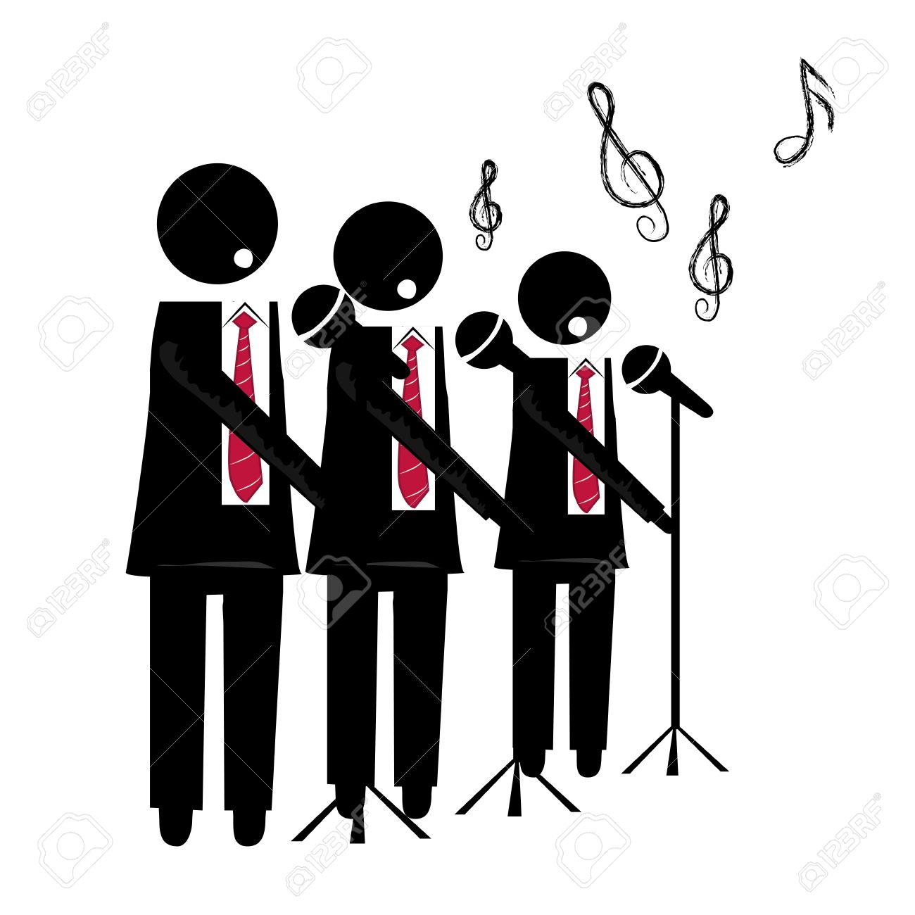 Tres siluetas negras de un coro cantando con el micrófono para el fondo
