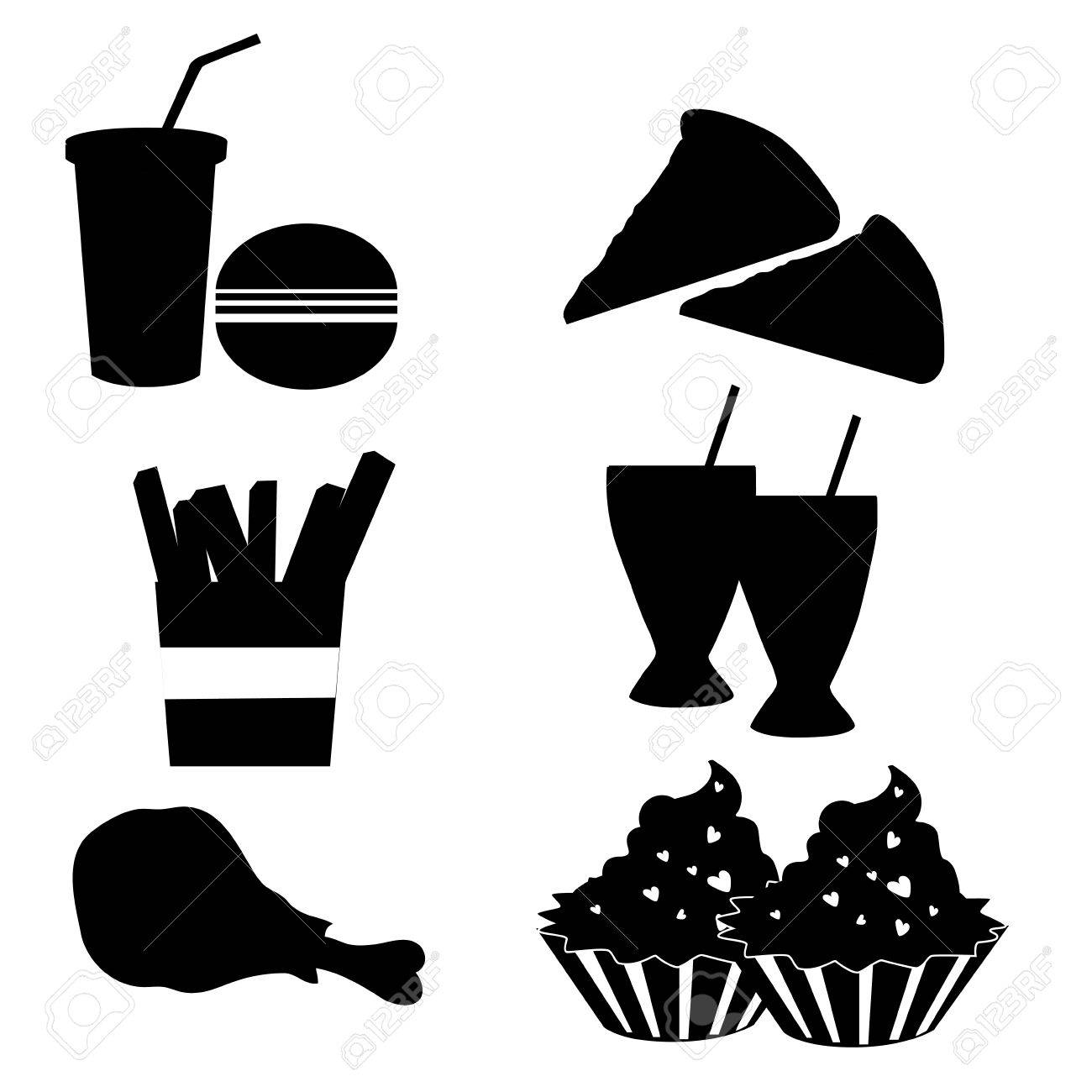 six silhouettes of fast food in a white background Stock Vector - 22897953