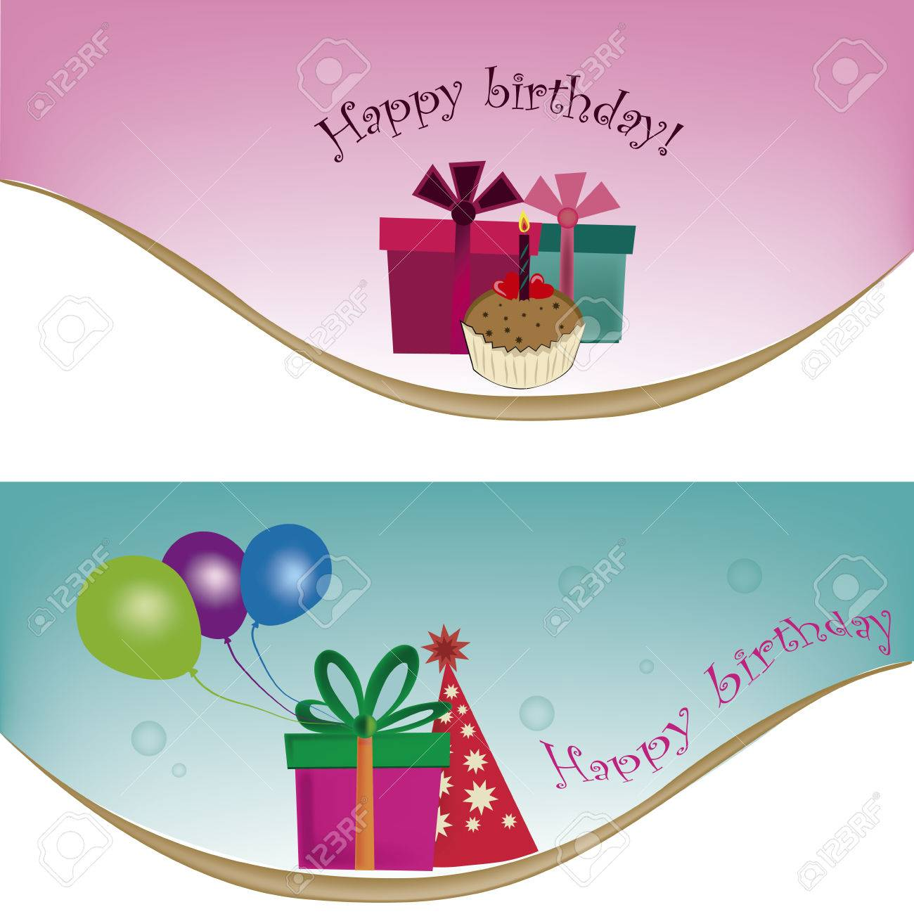 two different templates for happy birthday with a lot of related stuff - 22897969