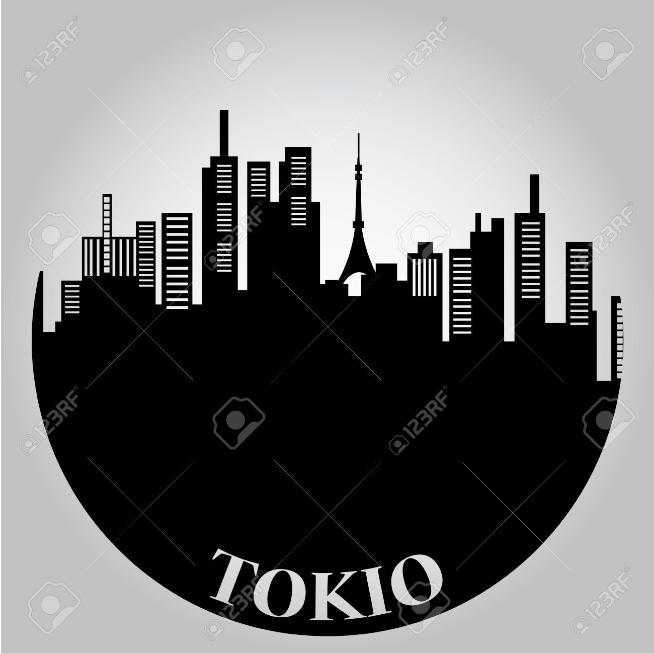 some black silhouettes of the buildings from tokyo - 22898753