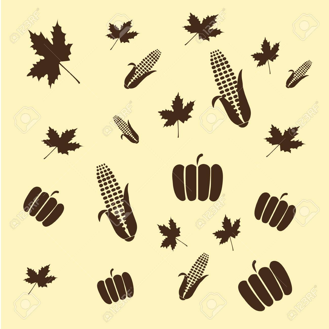 a lot of black silhouettes of pumpkins, corns and leaves for thanksgiving - 23976553