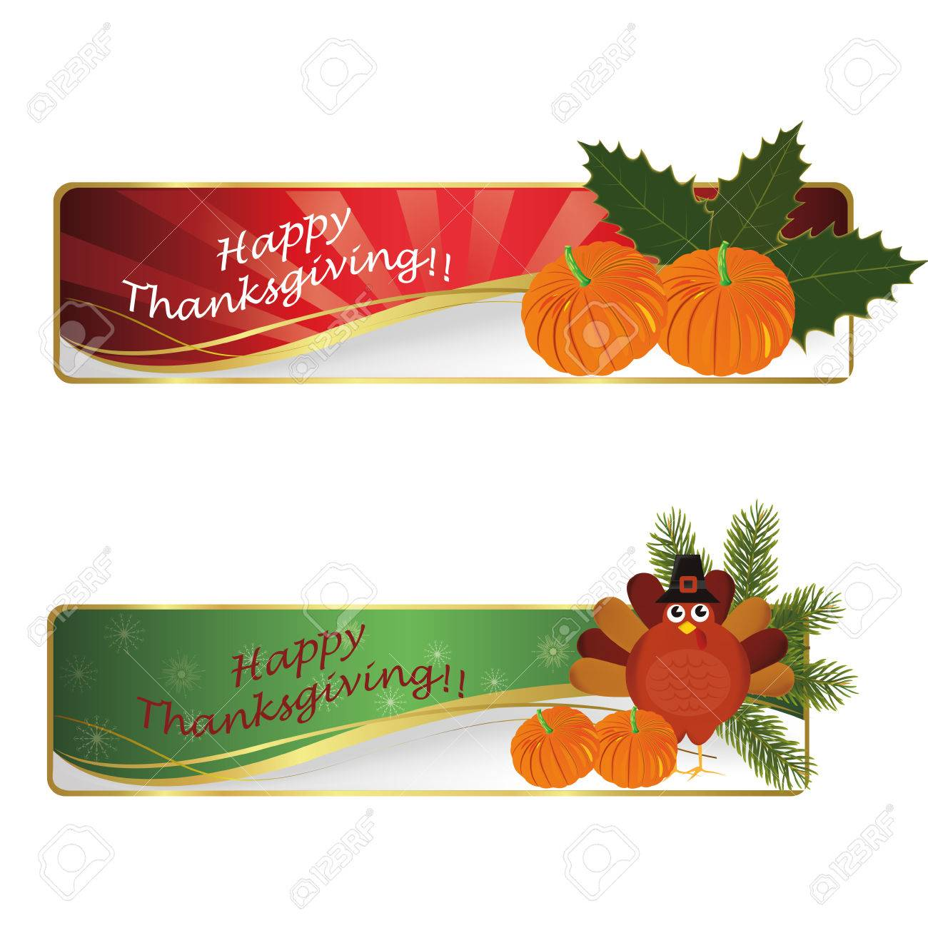 two signatures with pumpkins and a turkey for thanksgiving day - 23976603