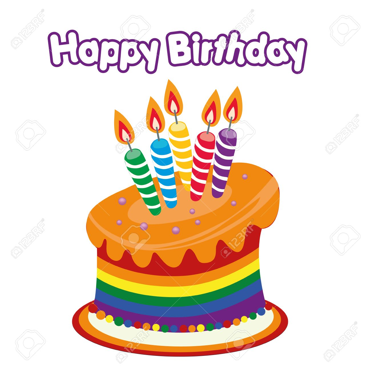 A Colored Happy Birthday Cake With Some Text Stock Vector