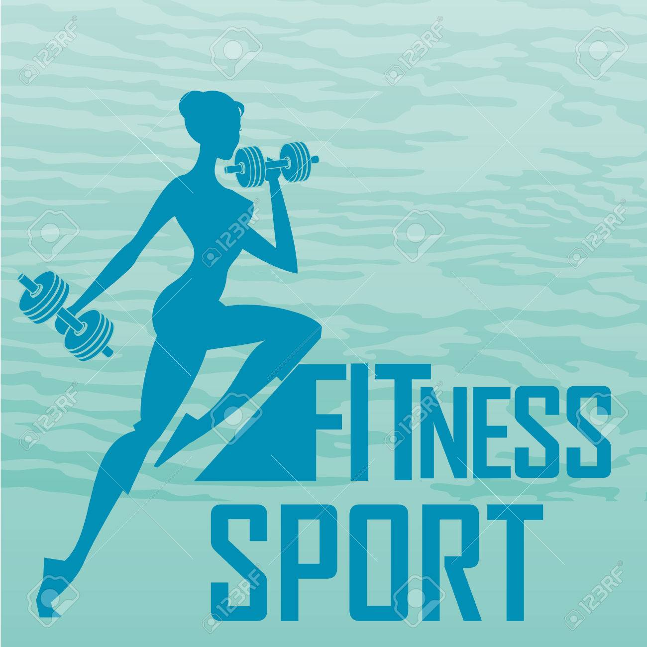 a blue silhouette of a woman lifting some weights - 25146236