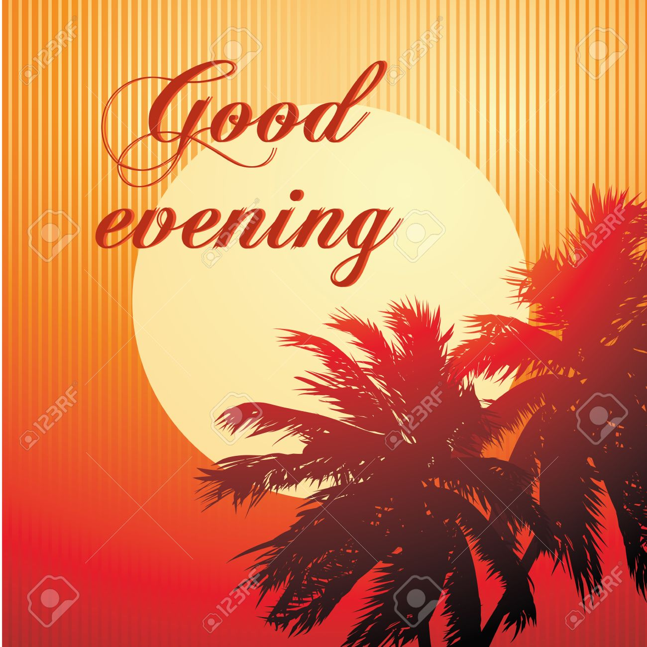 A Good Evening Message In A Beach Background Royalty Free Cliparts