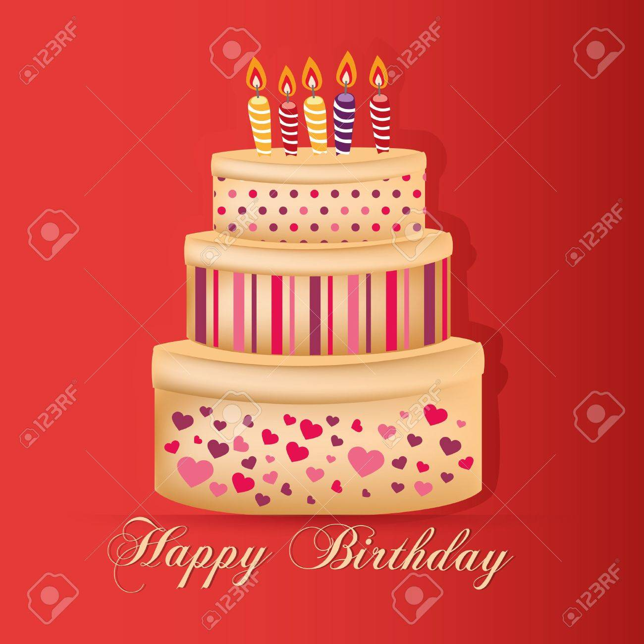 A Delicious Big Cake With Some Candles And Text For Happy Birthday Stock Vector