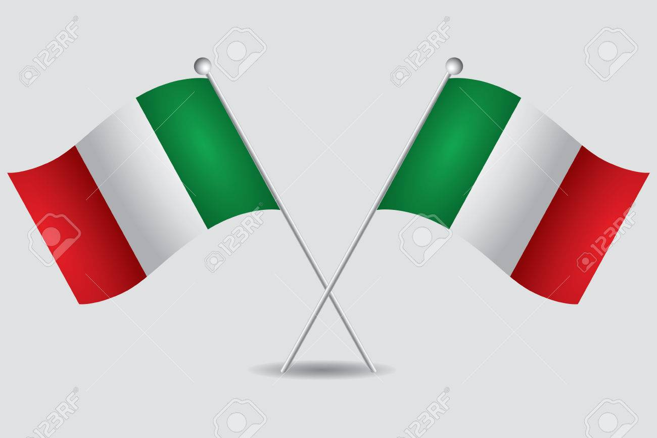 a pair of italian flags in grey background - 29354825