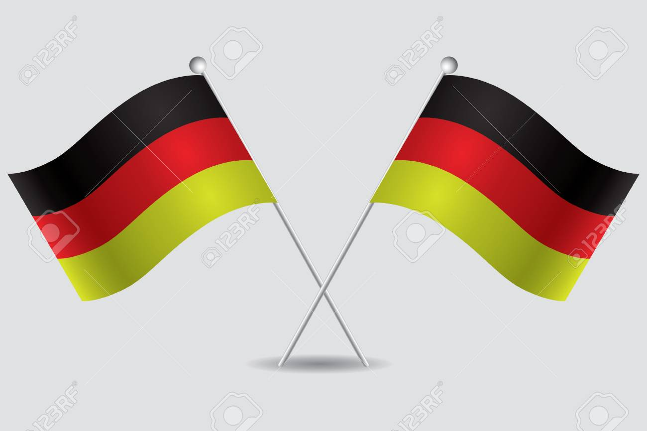 a pair of german flags in grey background