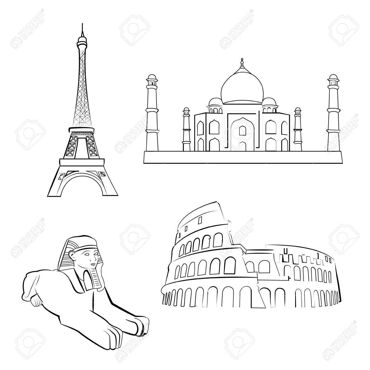 A Set Of Sketches Famous Places Around The World Stock Vector
