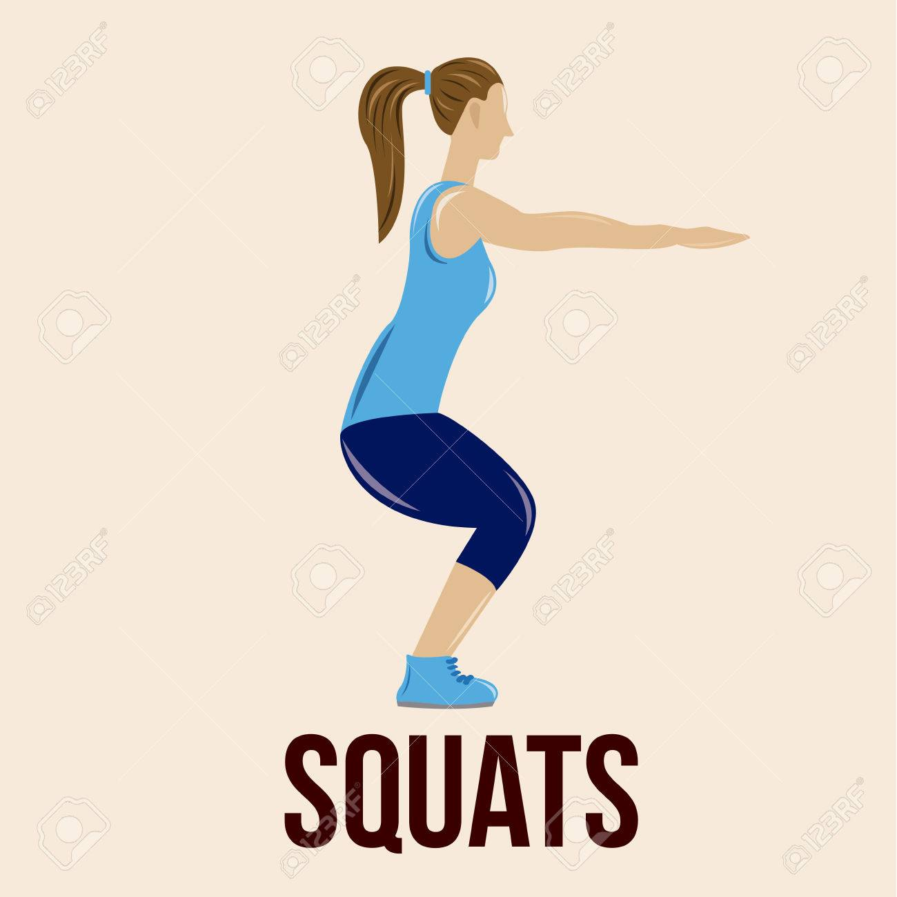 an isolated woman doing squats on a colored background - 32824015