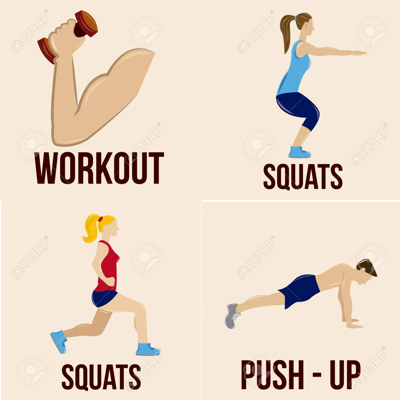 a set of different fitness related elements on a white background - 32824024