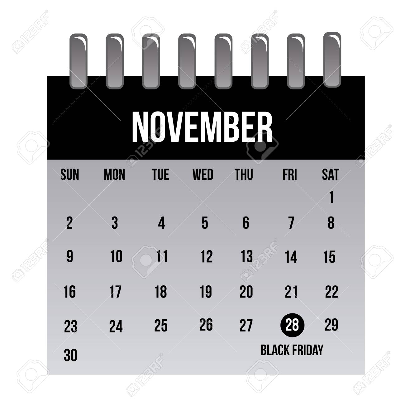 An Isolated Calendar With The Black Friday Date Marked Royalty Free Cliparts Vectors And Stock Illustration Image 33779143