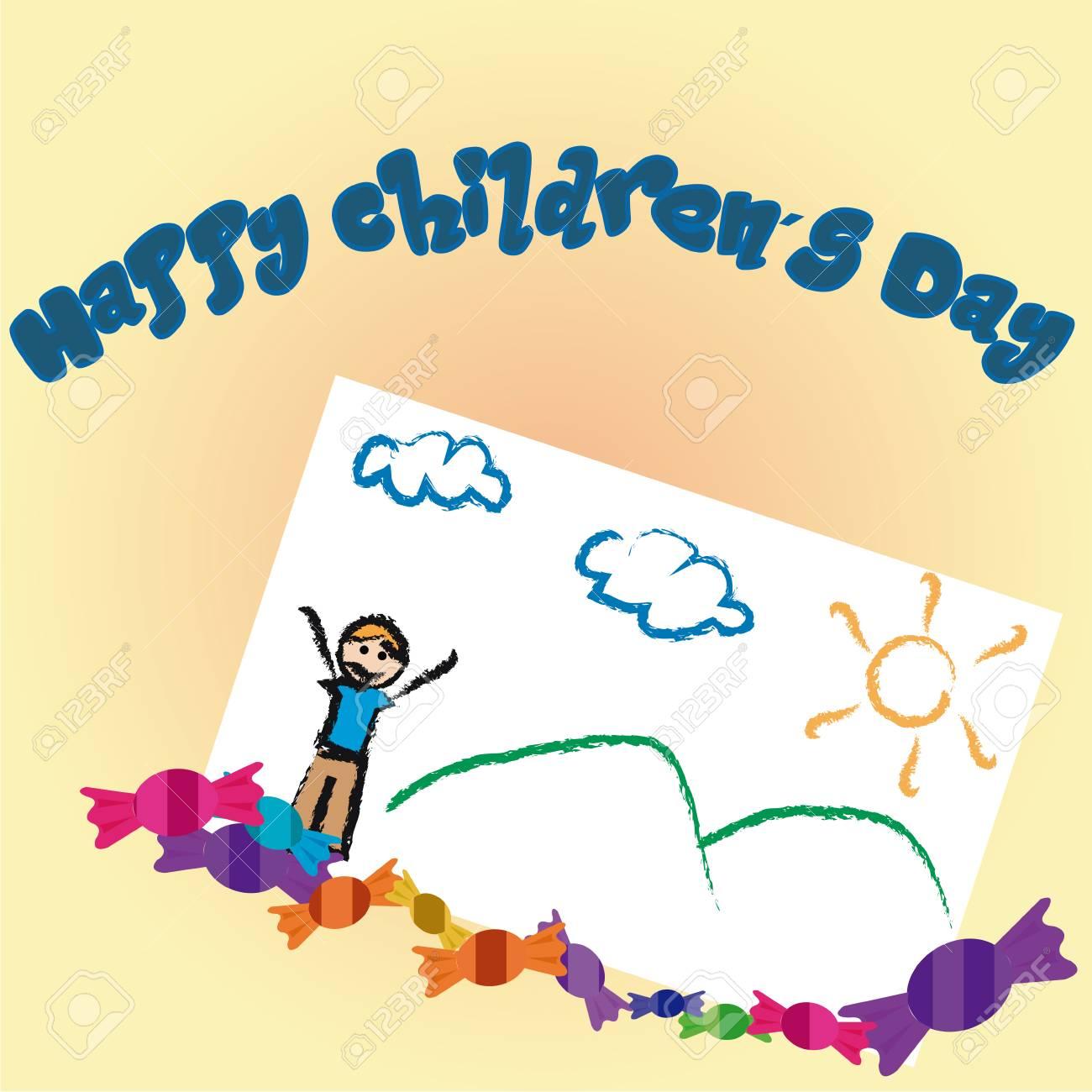 Un Grupo De Caramelos Y Un Boceto Para El Día De Los Niños ...