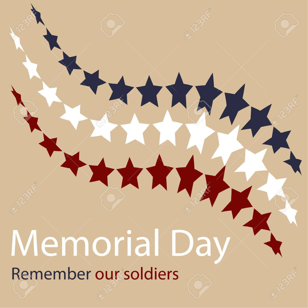 Colored background with text and elements for memorial day. Vector illustration - 39720642