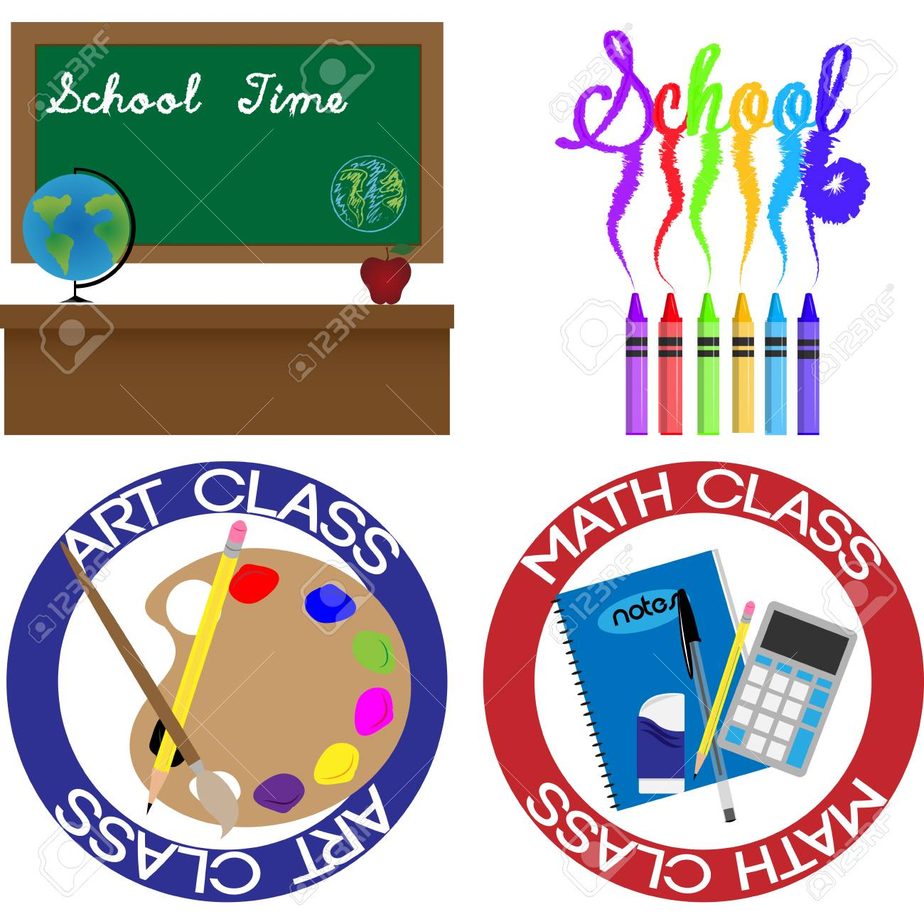 Set of backgrounds and labels with school supplies  Vector illustration