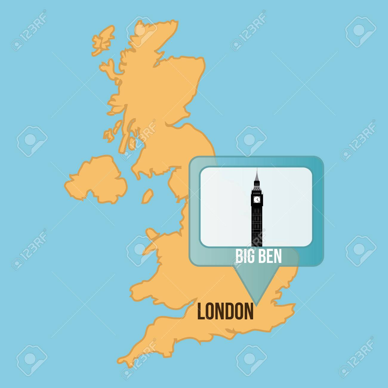 Big Map Of England.Isolated Map Of England With The Big Ben Vector Illustration