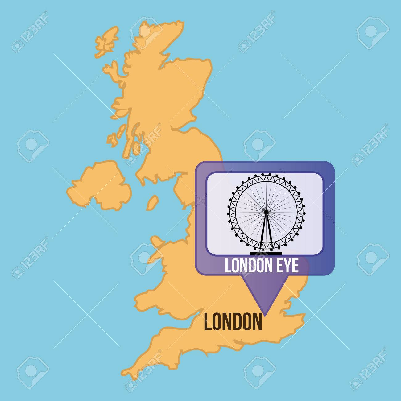 London On The Map Of England.Isolated Map Of England With The London Eye Vector Illustration