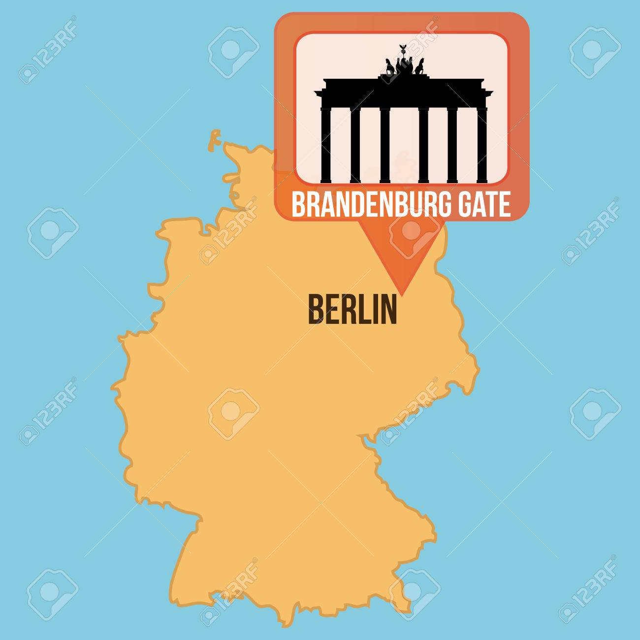 Isolated Map Of Germany With The Brandenburg Gate Vector