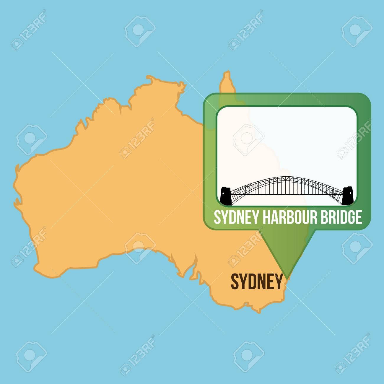 Sydney On Australia Map.Isolated Map Of Australia With The Sydney Harbour Bridge Vector